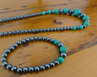 Chrysoprase and Hematite Necklace and Bracelet Set 14K Gold Plate 1990s