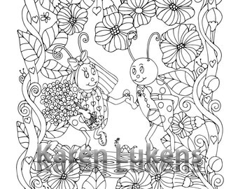 Just Married, 1 Adult Coloring Book Page, Printable Instant Download