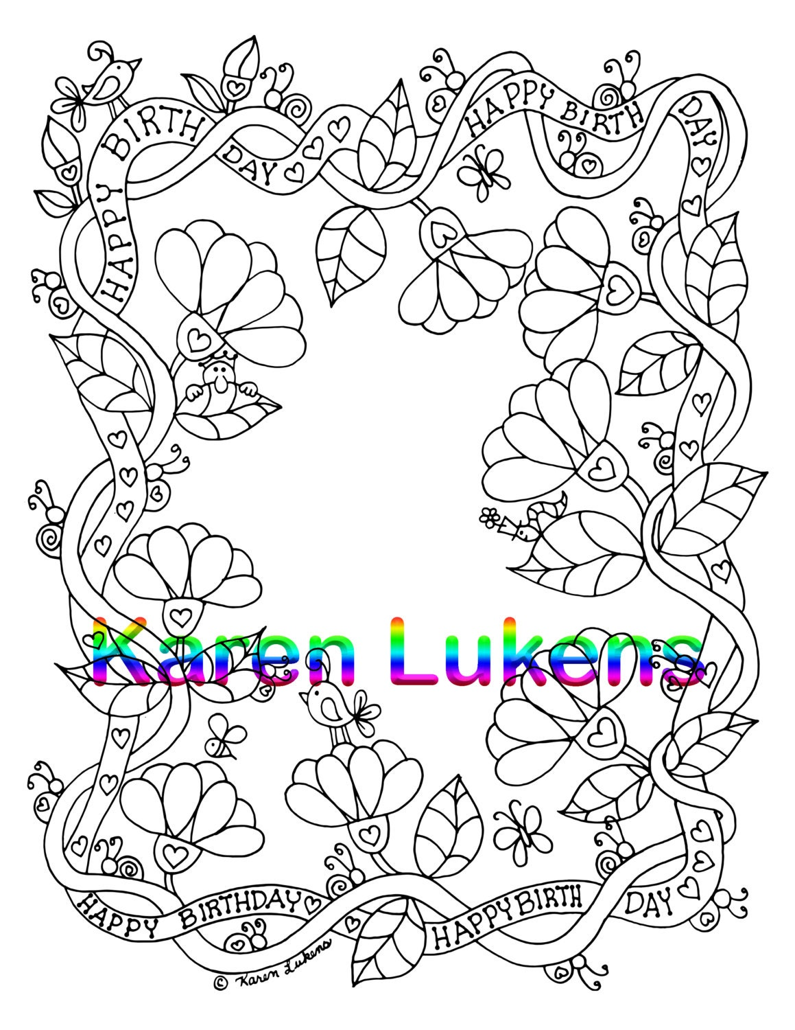 Happy Birthday Flowering Vine 1 Adult Coloring Book Pages Printable Instant Download