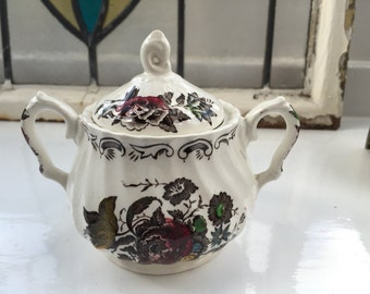 Vintage Myotts Bouquet Staffordshire England Sugar Bowl / Dish with Lid and Handles, Rare