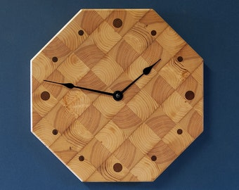 "12"" Butcher Block Kitchen Clock - Octagonal Wall Clock - Recycled Pine"