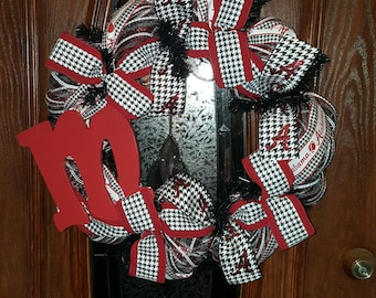 Alabama Crimson Tide Monogram Wreath