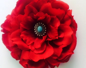 Southwestern red silk flower with faux turquoise hair clip
