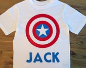 Captain America Shirt, Superhero Shirt, Avengers Shirt, Boys Action Figure Shirt, Captain American Shield, Personalized Super Hero Shirt