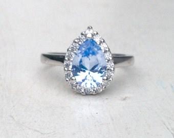 Sterling Silver 925 Blue Teardrop CZ Ring