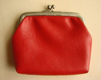 Vintage 70s Red Coin Purse, Leatherette Wallet, Soviet Kiss Lock Purse, Women's Pouch, Made in USSR