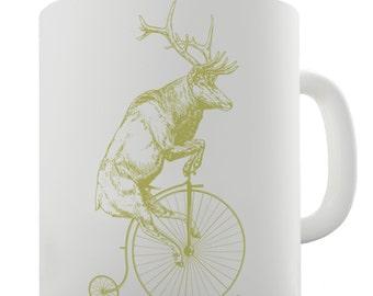 Reindeer On Penny Farthing Ceramic Funny Mug