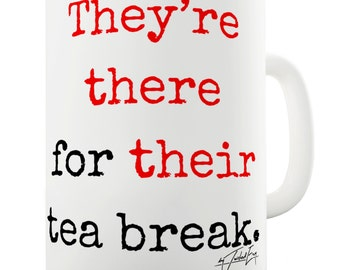 They're There Their Tea Break Grammar Ceramic Novelty Gift Mug