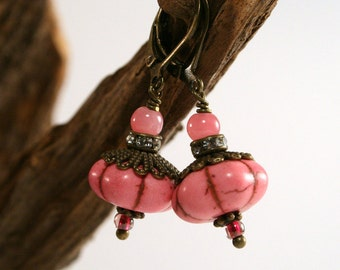 Pink, pink, bronze - jewelry in the boho look, style earrings in the boho - Klappbrisuren - spring, handmade with individual greeting card