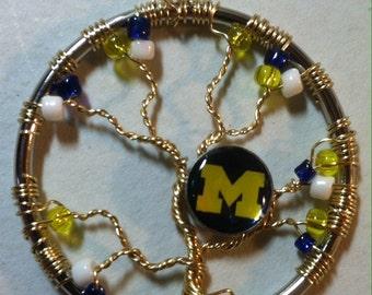 University of Michigan U of M wire Tree of Life pendant