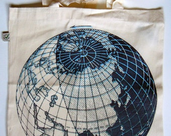Lunar Sphere Screenprinted Organic Shopper Tote bag / Tasche