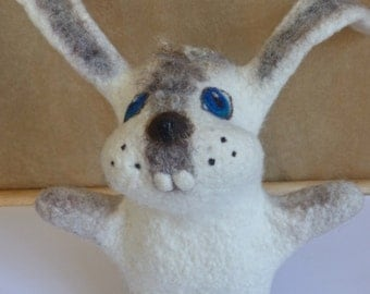 Rabbit hand puppet, wet felted, Baby shower gift, handmade, Toy on hand, Toy glove, Puppet theater, custom