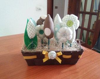 Basket of fabric flowers