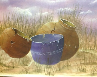 Old lost treasures-clay pots lost on the beach-original oil painting- wall art - home decor