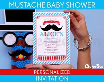 Mustache Bash Little Man Birthday Party Invitation Personalized Printable // Mustache Bash - S3Pa1