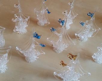 Vintage Glass Spun Nautical Sail Boat figurines