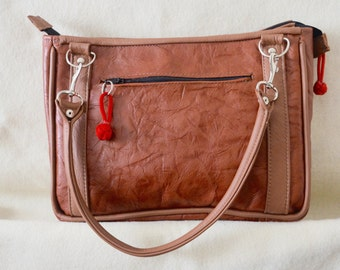 Brown Textured Designer Leather with a Zippered Outside Pocket