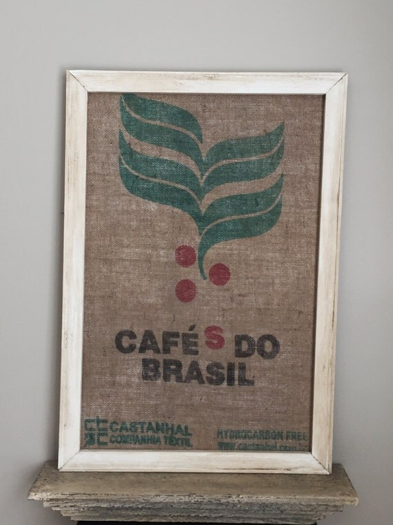 Framed Burlap Coffee Sack/Brasil/22x32 Wall Hanging/Recycled Coffee Bean Bag/Coffee Lover Gift/Coffee Wall Art/Coffee Shop Decor/Coffee Sign