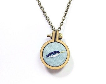 Narwhal Miniature Embroidery// Pendant Necklace