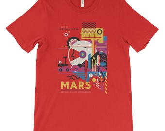 Mars T-Shirt from NASA's Visions of the Future. Planet Poster Art Tee. Solar System Space Travel. Soft Cotton Tee.  Black Red White or Gray.