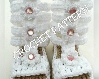 Crochet patter Gladiator Sandals sizes 3m-12m