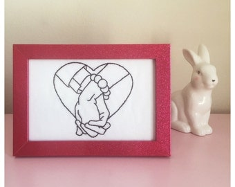 Holding Hands Framed Embroidery