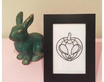 Halloween Alien Pumpkin embroidery in frame