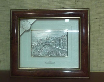 Pair of pictures, a Navy and a Landscape, made in silver (925milths) with crystal