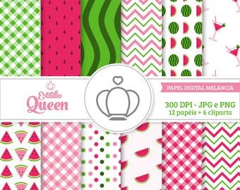 Watermelon Clip Art, Digital Scrapbook, Fruit ClipArt, Fruit Clip Art, Watermelon, Instant Download.