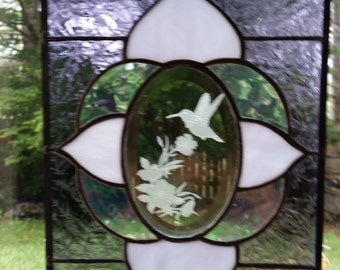 Stained Glass Window Panel w/ Sandcarved Hummingbird on Oval Bevel