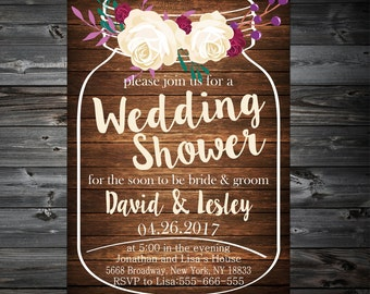 Wedding Shower Invitation,Couples Shower Printable,Couples Wedding Shower Invitation,Bridal Shower Invitation,Floral Bridal Shower Invite
