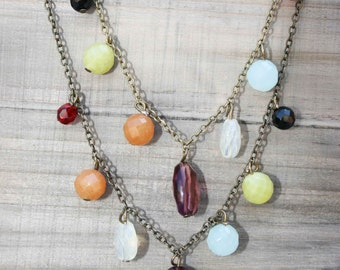 Stone Collector Necklace - Crystals and Semi Precious Stones on a Silver Necklace