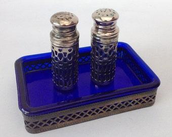 Vintage Salt Pepper Shakers, Butter Dish set filigree Metal & Cobalt Blue. Vintage and Chic salt pepper shakers and butter dish, openwork metal