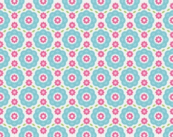Quilting Fabric -Floral Blue of Summer Song 2 by Zoe Pearn for Riley Blake Designs (Yardage, 100% Cotton Quilting Fabric)