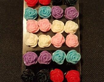 Rose glitter earrings