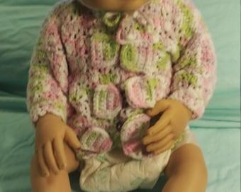 Crochet baby sweater hat booties newborn baby shower girl gift birthday cozy fun