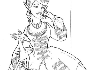 Fashionable Elf and Griffin Coloring Page