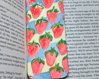 Handmade strawberry bookmark