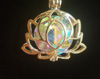 Crystal Lotus Pendant Necklace