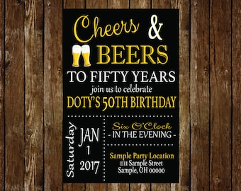 Cheers & Beers to Fifty Years- 50th Birthday Party Invitation