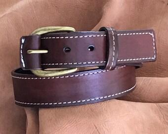 Genuine Leather Cowhide Belt Brown