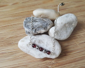 Collection Harmony // Garnet and Silver 925 Bracelet