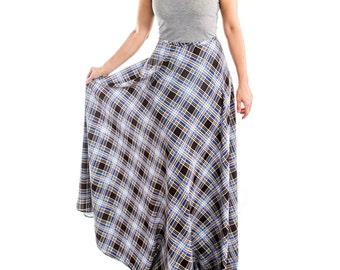 Tartan Print Full Length Skirt - 15-060