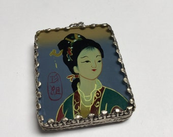 Hand Painted and Set Doubke Sided Pendant (Style 2) - 1 piece - #416