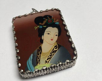Hand Painted and Set Double Sided Pendant (Style 3) - 1 Piece - #417