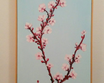 Acrylic painting, spring with Almond Blossom, blue and pink.