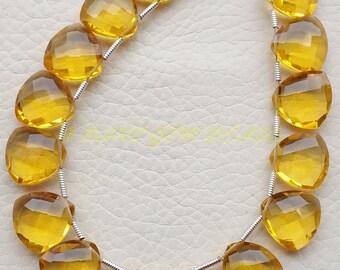 Citrine Quartz Trillion, Citrine Yellow Quartz Faceted Trillion Shape Briolettes, 12 MM Size, 10 Pieces, Loose Gemstone Beads, High Quality