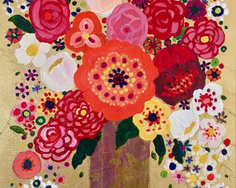NEW!! Abstract Floral, Bright and Cheerful Poppies, GICLEE, Fine Art Print, reproduction, of my original Flower Painting Still Life