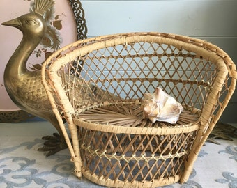 Miniature Wicker Bench Boho Succulent Plant Stand