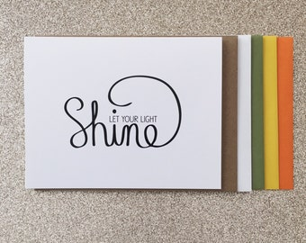 Let Your Light Shine A2 Greeting Card, Typography Print, Motivation, Inspiring Cards, Pep Talk, Monochrome Art